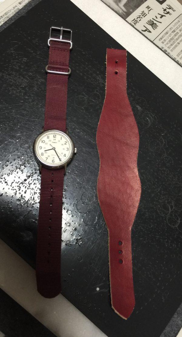 革バンド交換前 腕時計 写真