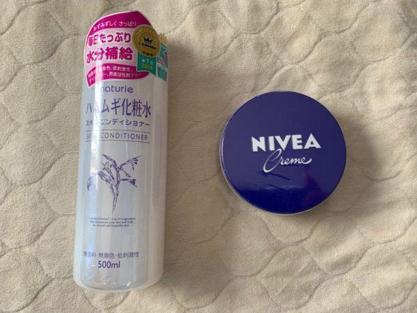 Amazonで購入したハトムギ化粧水とニベアクリーム 写真