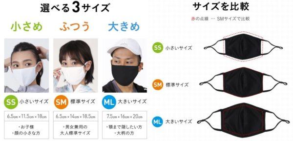PONNTAPES ラッシュマスク サイズ比較 写真