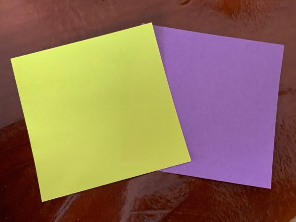 お種銭 黄色とラベンダーの折り紙 写真