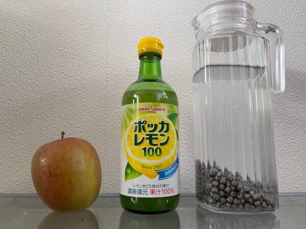 ポッカレモンで作るボケりんご復活ジュース 材料 写真