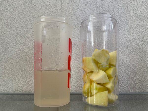 ポッカレモンで作るボケりんご復活ジュース ポッカレモン水とボケりんご 写真