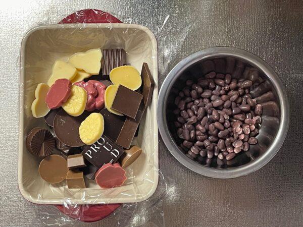 チョコと煮あずき 写真