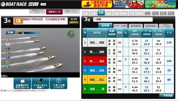 競艇のレース映像 画像