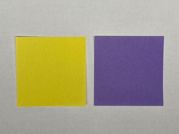 黄色とラベンダー色の折り紙 写真