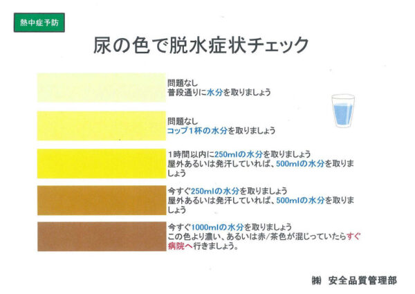 尿の色で脱水症状チェック (株)安全品質管理部 画像